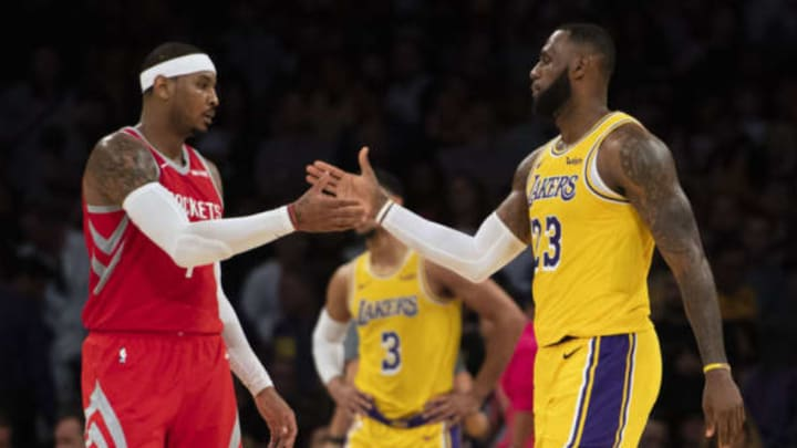 LOS ANGELES, CA – OCTOBER 20: Carmelo Anthony #7 of the Houston Rockets shakes hands with his good friend LeBron James #23 of the Los Angeles Lakers after the Lakers' home opener against the Houston Rockets at Staples Center in Los Angeles on Saturday, October 20, 2018. The Los Angeles Lakers defeated the Houston Rockets 124-115. (Photo by Kevin Sullivan/Digital First Media/Orange County Register via Getty Images)