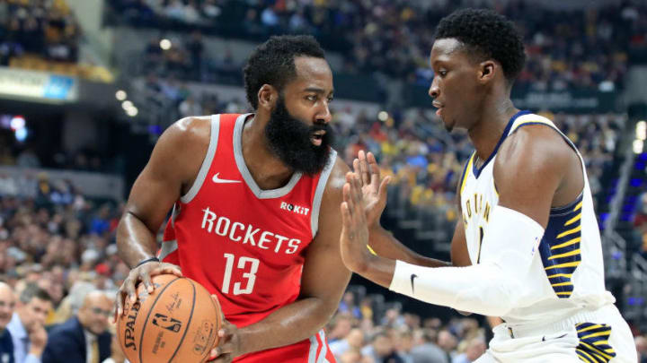 James Harden #13 of the Houston Rockets is defended by Victor Oladipo #4 of the Indiana Pacers (Photo by Andy Lyons/Getty Images)