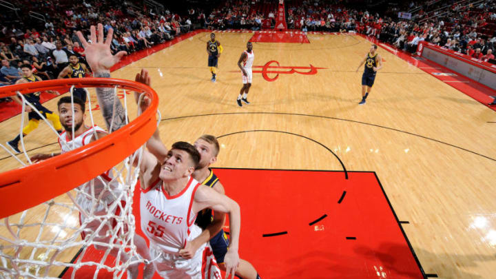 HOUSTON, TX - OCTOBER 4: Isaiah Hartenstein #55 of the Houston Rockets shoots the ball against the Indiana Pacers during a pre-season game on October 4, 2018 at Toyota Center, in Houston, Texas. NOTE TO USER: User expressly acknowledges and agrees that, by downloading and/or using this Photograph, user is consenting to the terms and conditions of the Getty Images License Agreement. Mandatory Copyright Notice: Copyright 2018 NBAE (Photo by Bill Baptist/NBAE via Getty Images)