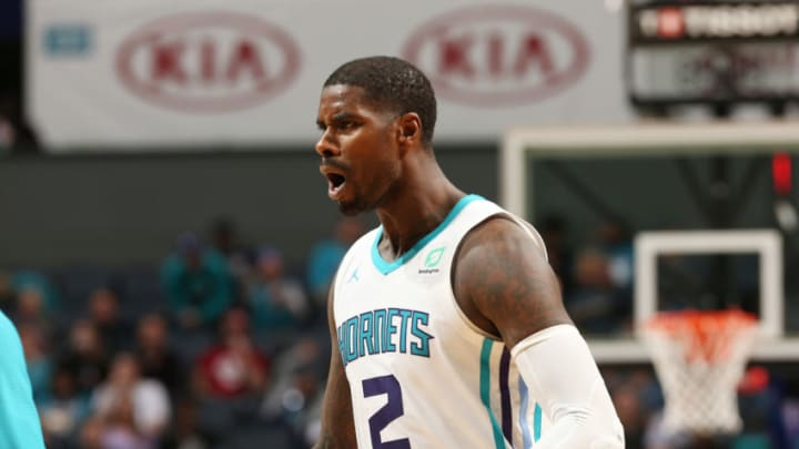 CHARLOTTE, NC - NOVEMBER 6: Marvin Williams #2 of the Charlotte Hornets reacts against the Atlanta Hawks on November 6, 2018 at Spectrum Center in Charlotte, North Carolina. NOTE TO USER: User expressly acknowledges and agrees that, by downloading and or using this photograph, User is consenting to the terms and conditions of the Getty Images License Agreement. Mandatory Copyright Notice: Copyright 2018 NBAE (Photo by Kent Smith/NBAE via Getty Images)