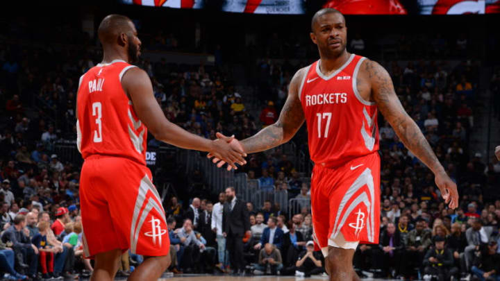 Chris Paul #3 and PJ Tucker #17 of the Houston Rockets (Photo by Bart Young/NBAE via Getty Images)