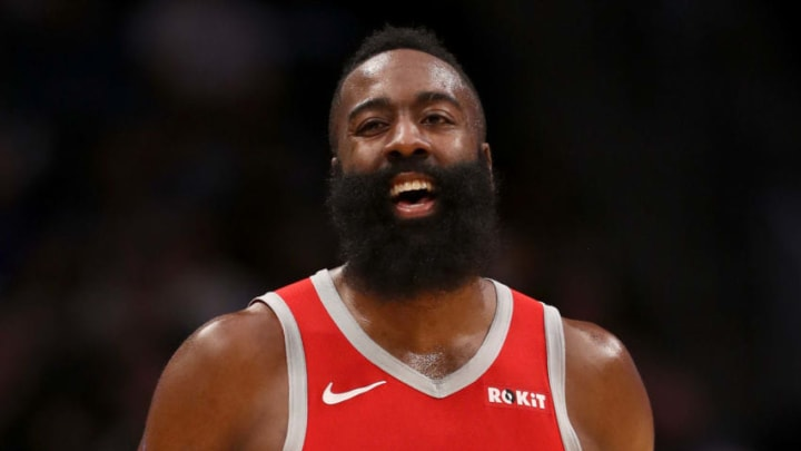 DENVER, CO - NOVEMBER 13: James Harden #13 of the Houston Rockets plays the Denver Nuggets at the Pepsi Center on November 13, 2018 in Denver, Colorado. NOTE TO USER: User expressly acknowledges and agrees that, by downloading and or using this photograph, User is consenting to the terms and conditions of the Getty Images License Agreement. (Photo by Matthew Stockman/Getty Images)