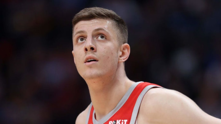 DENVER, CO - NOVEMBER 13: Isaiah Hartenstein #55 of the Houston Rockets plays the Denver Nuggets at the Pepsi Center on November 13, 2018 in Denver, Colorado. NOTE TO USER: User expressly acknowledges and agrees that, by downloading and or using this photograph, User is consenting to the terms and conditions of the Getty Images License Agreement. (Photo by Matthew Stockman/Getty Images)