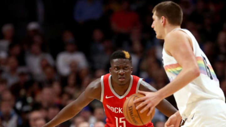 DENVER, CO – NOVEMBER 13: Clint Capela #15 of the Houston Rockets guards Nikola Jokic #15 of the Denver Nuggets at the Pepsi Center on November 13, 2018 in Denver, Colorado. NOTE TO USER: User expressly acknowledges and agrees that, by downloading and or using this photograph, User is consenting to the terms and conditions of the Getty Images License Agreement. (Photo by Matthew Stockman/Getty Images)