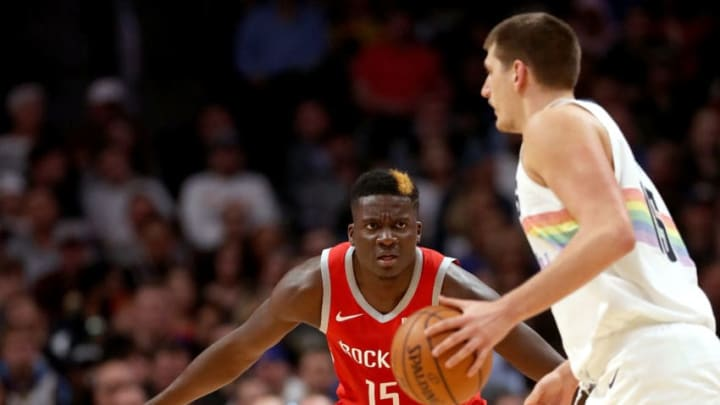 DENVER, CO - NOVEMBER 13: Clint Capela #15 of the Houston Rockets guards Nikola Jokic #15 of the Denver Nuggets at the Pepsi Center on November 13, 2018 in Denver, Colorado. NOTE TO USER: User expressly acknowledges and agrees that, by downloading and or using this photograph, User is consenting to the terms and conditions of the Getty Images License Agreement. (Photo by Matthew Stockman/Getty Images)