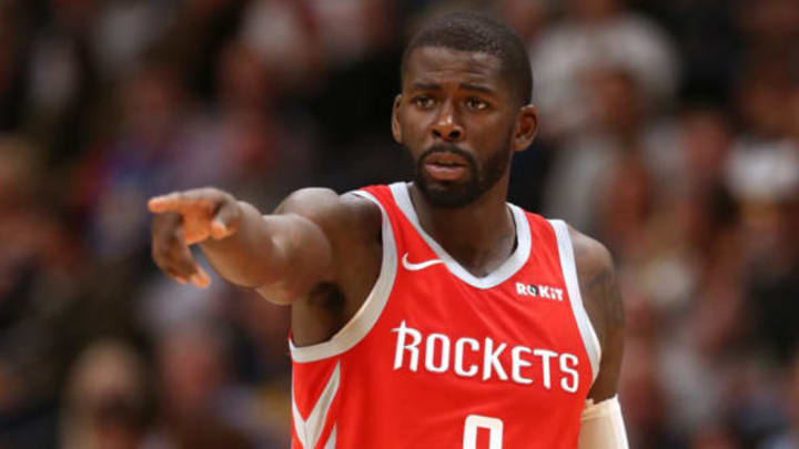 DENVER, CO – NOVEMBER 13: James Ennis #8 of the Houston Rockets plays the Denver Nuggets at the Pepsi Center on November 13, 2018 in Denver, Colorado. NOTE TO USER: User expressly acknowledges and agrees that, by downloading and or using this photograph, User is consenting to the terms and conditions of the Getty Images License Agreement. (Photo by Matthew Stockman/Getty Images)