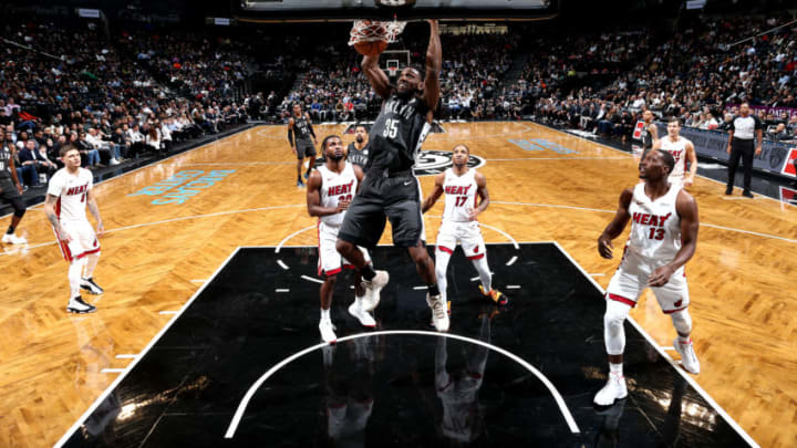 BROOKLYN, NY - NOVEMBER 14: Kenneth Faried #35 of the Brooklyn Nets dunks the ball against the Miami Heat on November 14, 2018 at Barclays Center in Brooklyn, New York. NOTE TO USER: User expressly acknowledges and agrees that, by downloading and or using this Photograph, user is consenting to the terms and conditions of the Getty Images License Agreement. Mandatory Copyright Notice: Copyright 2018 NBAE (Photo by Nathaniel S. Butler/NBAE via Getty Images)