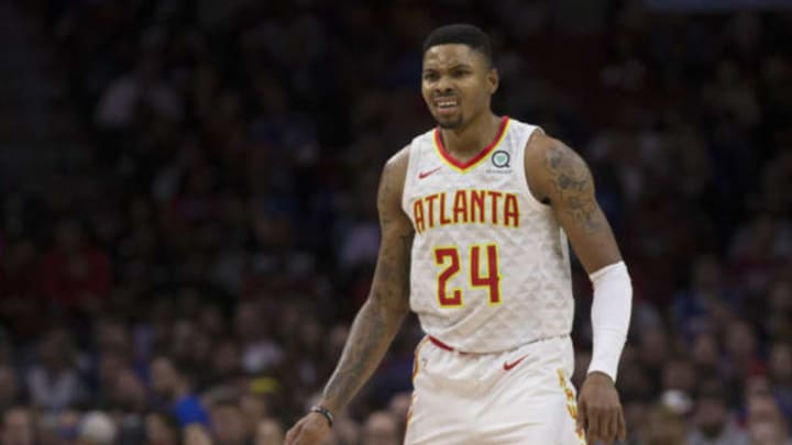 PHILADELPHIA, PA – OCTOBER 29: Kent Bazemore #24 of the Atlanta Hawks reacts against the Philadelphia 76ers at the Wells Fargo Center on October 29, 2018 in Philadelphia, Pennsylvania. NOTE TO USER: User expressly acknowledges and agrees that, by downloading and or using this photograph, User is consenting to the terms and conditions of the Getty Images License Agreement. (Photo by Mitchell Leff/Getty Images)