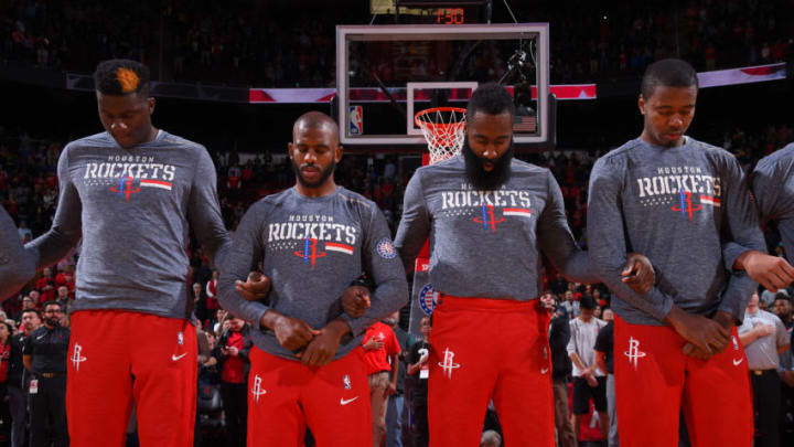 The Houston Rockets stand for the National Anthem before the game against the Golden State Warriors (Photo by Bill Baptist/NBAE via Getty Images)