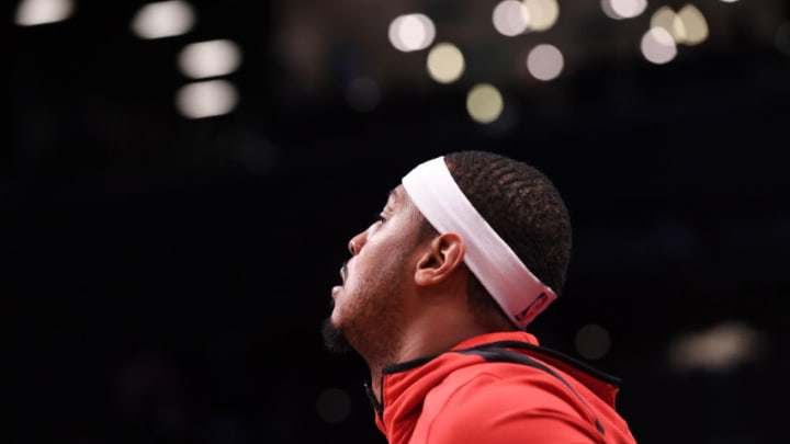 Carmelo Anthony #7 of the Houston Rockets warms up before the game against the Brooklyn Nets (Photo by Matteo Marchi/Getty Images)