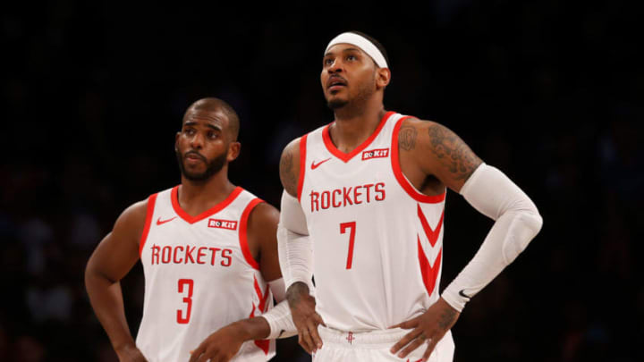 Carmelo Anthony #7 and Chris Paul #3 of the Houston Rockets (Photo by Jim McIsaac/Getty Images)