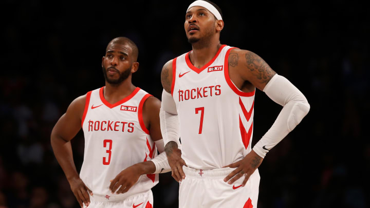 BROOKLYN, NY – NOVEMBER 02: (NEW YORK DAILIES OUT) Carmelo Anthony #7 and Chris Paul #3 of the Houston Rockets in action against the Brooklyn Nets at Barclays Center on November 2, 2018 in the Brooklyn borough of New York City. The Rockets defeated the Nets 119-111. NOTE TO USER: User expressly acknowledges and agrees that, by downloading and/or using this photograph, user is consenting to the terms and conditions of the Getty Images License Agreement. (Photo by Jim McIsaac/Getty Images)