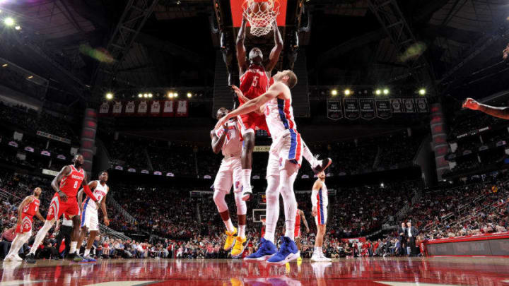 HOUSTON, TX - NOVEMBER 21: Clint Capela #15 of the Houston Rockets shoots the ball against the Detroit Pistons on November 21, 2018 at the Toyota Center in Houston, Texas. NOTE TO USER: User expressly acknowledges and agrees that, by downloading and or using this photograph, User is consenting to the terms and conditions of the Getty Images License Agreement. Mandatory Copyright Notice: Copyright 2018 NBAE (Photo by Bill Baptist/NBAE via Getty Images)