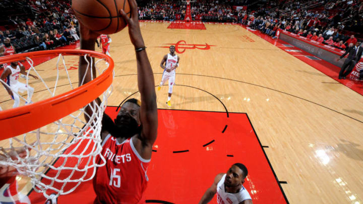 HOUSTON, TX - NOVEMBER 21: Clint Capela #15 of the Houston Rockets dunks the ball against the Detroit Pistons on November 21, 2018 at the Toyota Center in Houston, Texas. NOTE TO USER: User expressly acknowledges and agrees that, by downloading and or using this photograph, User is consenting to the terms and conditions of the Getty Images License Agreement. Mandatory Copyright Notice: Copyright 2018 NBAE (Photo by Bill Baptist/NBAE via Getty Images)