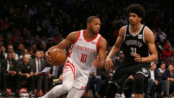 BROOKLYN, NY - NOVEMBER 02: (NEW YORK DAILIES OUT) Eric Gordon #10 of the Houston Rockets in action against Jarrett Allen #31 of the Brooklyn Nets at Barclays Center on November 2, 2018 in the Brooklyn borough of New York City. The Rockets defeated the Nets 119-111. NOTE TO USER: User expressly acknowledges and agrees that, by downloading and/or using this photograph, user is consenting to the terms and conditions of the Getty Images License Agreement. (Photo by Jim McIsaac/Getty Images)