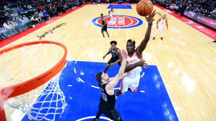 DETROIT, MI - NOVEMBER 23: Clint Capela #15 of the Houston Rockets shoots the ball against the Detroit Pistons on November 23, 2018 at Little Caesars Arena in Detroit, Michigan. NOTE TO USER: User expressly acknowledges and agrees that, by downloading and/or using this photograph, User is consenting to the terms and conditions of the Getty Images License Agreement. Mandatory Copyright Notice: Copyright 2018 NBAE (Photo by Chris Schwegler/NBAE via Getty Images)