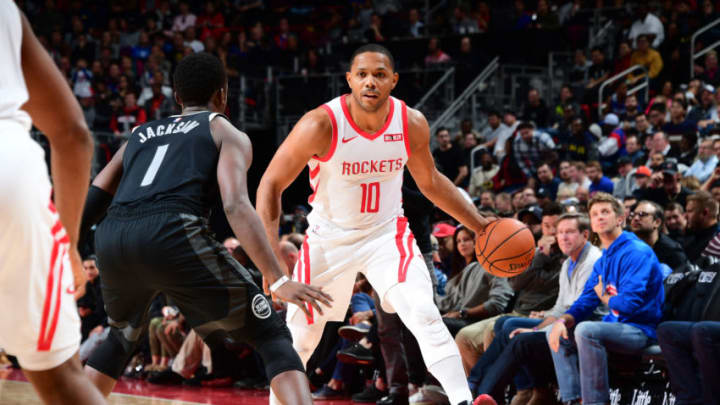 DETROIT, MI - NOVEMBER 23: Eric Gordon #10 of the Houston Rockets handles the ball against the Detroit Pistons on November 23, 2018 at Little Caesars Arena in Detroit, Michigan. NOTE TO USER: User expressly acknowledges and agrees that, by downloading and/or using this photograph, User is consenting to the terms and conditions of the Getty Images License Agreement. Mandatory Copyright Notice: Copyright 2018 NBAE (Photo by Chris Schwegler/NBAE via Getty Images)
