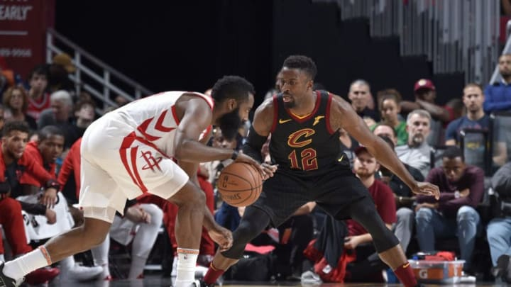 CLEVELAND, OH - NOVEMBER 24: David Nwaba #12 of the Cleveland Cavaliers plays defense against the Houston Rockets on November 24, 2018 at Quicken Loans Arena in Cleveland, Ohio. NOTE TO USER: User expressly acknowledges and agrees that, by downloading and/or using this Photograph, user is consenting to the terms and conditions of the Getty Images License Agreement. Mandatory Copyright Notice: Copyright 2018 NBAE (Photo by David Liam Kyle/NBAE via Getty Images)