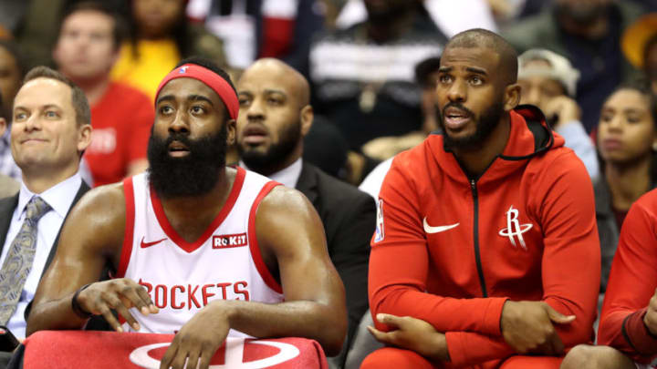 James Harden #13 and Chris Paul #3 of the Houston Rockets (R(Photo by Rob Carr/Getty Images)