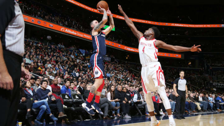 WASHINGTON, DC - NOVEMBER 26: Austin Rivers #1 of the Washington Wizards shoots the ball against the Houston Rockets on November 26, 2018 at Capital One Arena in Washington, DC. NOTE TO USER: User expressly acknowledges and agrees that, by downloading and or using this Photograph, user is consenting to the terms and conditions of the Getty Images License Agreement. Mandatory Copyright Notice: Copyright 2018 NBAE (Photo by Stephen Gosling/NBAE via Getty Images)