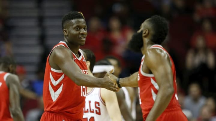 Clint Capela, James Harden of the Houston Rockets (Photo by Tim Warner/Getty Images)