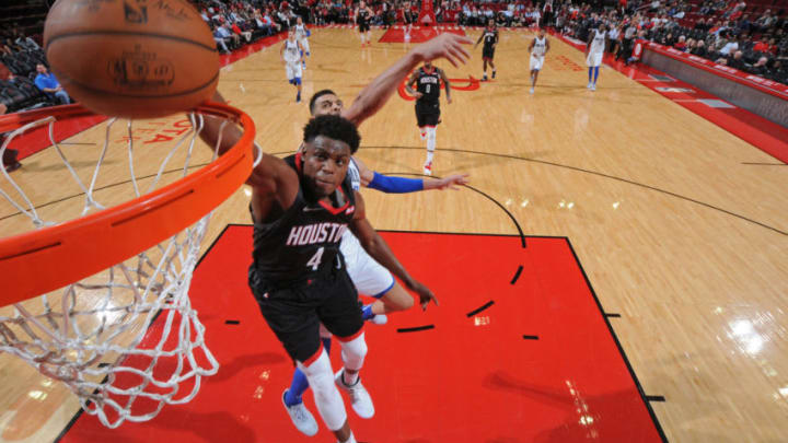 HOUSTON, TX - NOVEMBER 28: Danuel House Jr. #4 of the Houston Rockets dunks the ball against the Dallas Mavericks on November 28, 2018 at the Toyota Center in Houston, Texas. NOTE TO USER: User expressly acknowledges and agrees that, by downloading and/or using this photograph, user is consenting to the terms and conditions of the Getty Images License Agreement. Mandatory Copyright Notice: Copyright 2018 NBAE (Photo by Bill Baptist/NBAE via Getty Images)