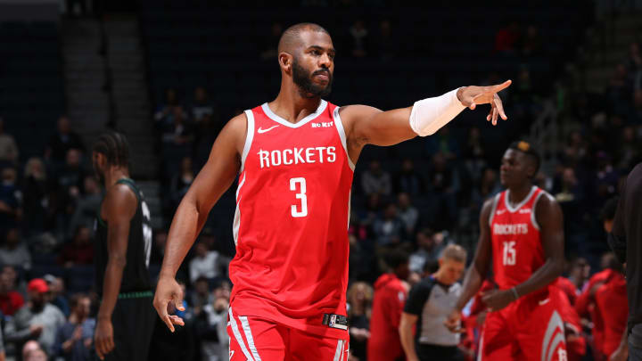 Chris Paul #3 of the Houston Rockets celebrates during the game against the Minnesota Timberwolves (Photo by David Sherman/NBAE via Getty Images)