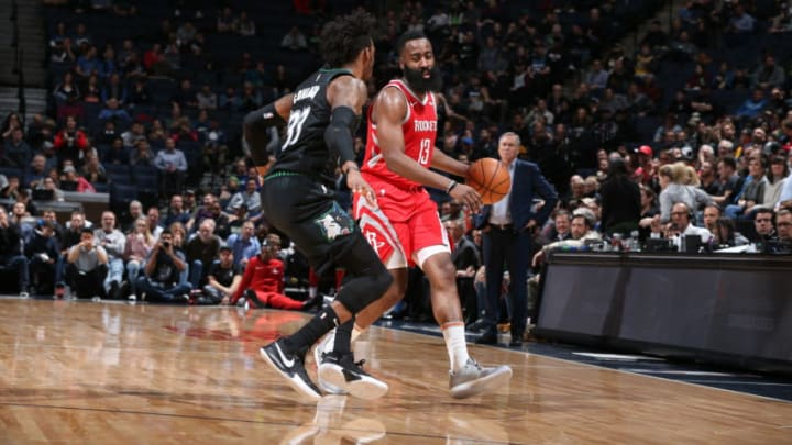 MINNEAPOLIS, MN - DECEMBER 3: James Harden #13 of the Houston Rockets handles the ball during the game against the Minnesota Timberwolves on December 3, 2018 at Target Center in Minneapolis, Minnesota. NOTE TO USER: User expressly acknowledges and agrees that, by downloading and or using this Photograph, user is consenting to the terms and conditions of the Getty Images License Agreement. Mandatory Copyright Notice: Copyright 2018 NBAE (Photo by David Sherman/NBAE via Getty Images)