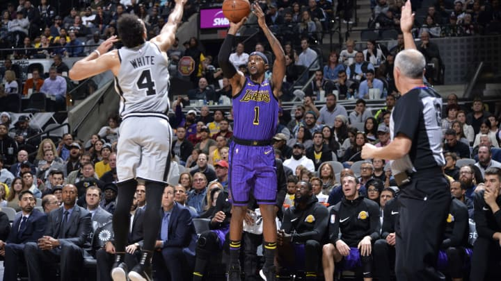 Kentavious Caldwell-Pope #1 of the Los Angeles Lakers (Photos by Mark Sobhani/NBAE via Getty Images)