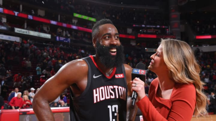 James Harden #13 of the Houston Rockets talks to the media after the game against the Los Angeles Lakers on December 13, 2018 at the Toyota Center in Houston, Texas. NOTE TO USER: User expressly acknowledges and agrees that, by downloading and or using this photograph, User is consenting to the terms and conditions of the Getty Images License Agreement. Mandatory Copyright Notice: Copyright 2018 NBAE (Photo by Bill Baptist/NBAE via Getty Images)
