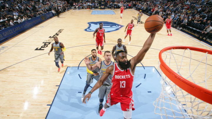 MEMPHIS, TN - DECEMBER 15: James Harden #13 of the Houston Rockets dunks the ball against the Memphis Grizzlies on December 15, 2018 at FedExForum in Memphis, Tennessee. NOTE TO USER: User expressly acknowledges and agrees that, by downloading and or using this photograph, User is consenting to the terms and conditions of the Getty Images License Agreement. Mandatory Copyright Notice: Copyright 2018 NBAE (Photo by Joe Murphy/NBAE via Getty Images)