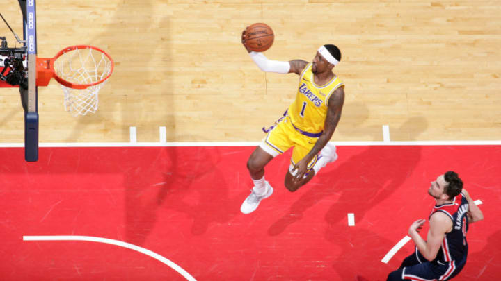 WASHINGTON, DC - DECEMBER 16: Kentavious Caldwell-Pope #1 of the Los Angeles Lakers shoots the ball against the Washington Wizards on December 16, 2018 at Capital One Arena in Washington, DC. NOTE TO USER: User expressly acknowledges and agrees that, by downloading and or using this Photograph, user is consenting to the terms and conditions of the Getty Images License Agreement. Mandatory Copyright Notice: Copyright 2018 NBAE (Photo by Ned Dishman/NBAE via Getty Images)