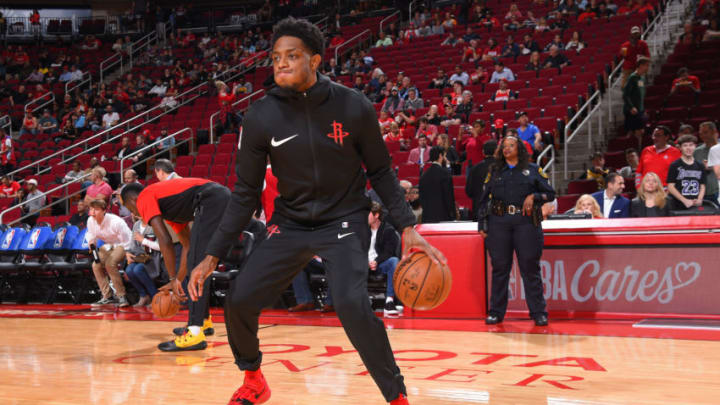 HOUSTON, TX - DECEMBER 13: Brandon Knight #2 of the Houston Rockets warms up before the game against the Los Angeles Lakers on December 13, 2018 at the Toyota Center in Houston, Texas. NOTE TO USER: User expressly acknowledges and agrees that, by downloading and/or using this photograph, user is consenting to the terms and conditions of the Getty Images License Agreement. Mandatory Copyright Notice: Copyright 2018 NBAE (Photo by Bill Baptist/NBAE via Getty Images)
