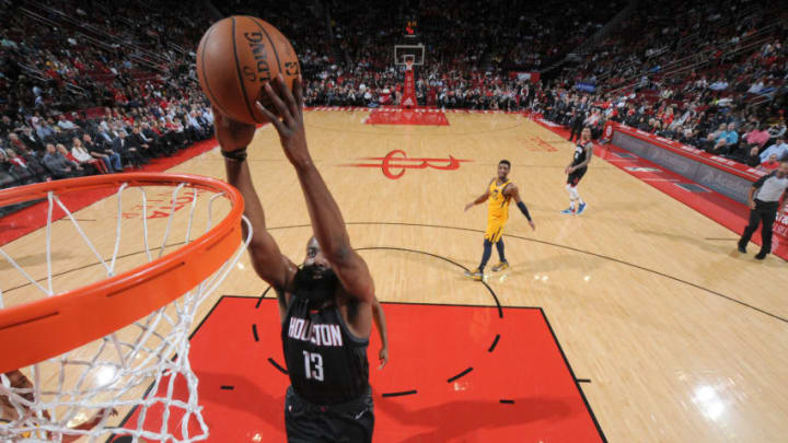 HOUSTON, TX - DECEMBER 17: James Harden #13 of the Houston Rockets dunks the ball against the Utah Jazz on December 17, 2018 at the Toyota Center in Houston, Texas. NOTE TO USER: User expressly acknowledges and agrees that, by downloading and or using this photograph, User is consenting to the terms and conditions of the Getty Images License Agreement. Mandatory Copyright Notice: Copyright 2018 NBAE (Photo by Bill Baptist/NBAE via Getty Images)