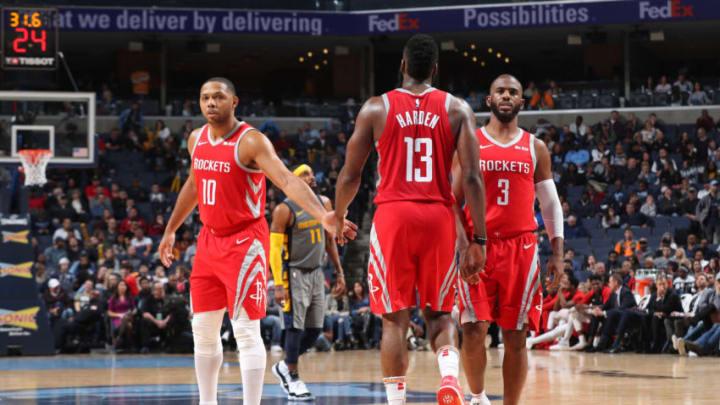 Eric Gordon #10, James Harden #13, and Chris Paul #3 of the Houston Rockets (Photo by Joe Murphy/NBAE via Getty Images)