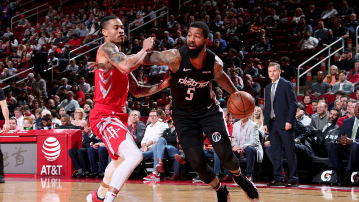 HOUSTON, TX - DECEMBER 19: Markieff Morris #5 of the Washington Wizards drives to the basket during the game against the Houston Rockets on December 19, 2018 at the Toyota Center in Houston, Texas. NOTE TO USER: User expressly acknowledges and agrees that, by downloading and or using this photograph, User is consenting to the terms and conditions of the Getty Images License Agreement. Mandatory Copyright Notice: Copyright 2018 NBAE (Photo by Ned Dishman/NBAE via Getty Images)