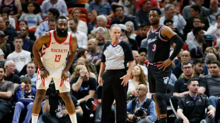 MIAMI, FL - DECEMBER 20: James Harden #13 of the Houston Rockets guards Dwyane Wade #3 of the Miami Heat during the second half at American Airlines Arena on December 20, 2018 in Miami, Florida. NOTE TO USER: User expressly acknowledges and agrees that, by downloading and or using this photograph, User is consenting to the terms and conditions of the Getty Images License Agreement. (Photo by Michael Reaves/Getty Images)