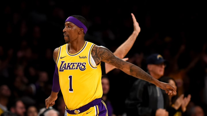 The Lakers' Kentavious Caldwell-Pope #1 reacts after hitting a 3-point shot during their game against the Pacers at the Staples Center in Los Angeles, Thursday, Nov 29, 2018. The Lakers beat the Pacers 104-96. (Photo by Hans Gutknecht/Digital First Media/Los Angeles Daily News via Getty Images)