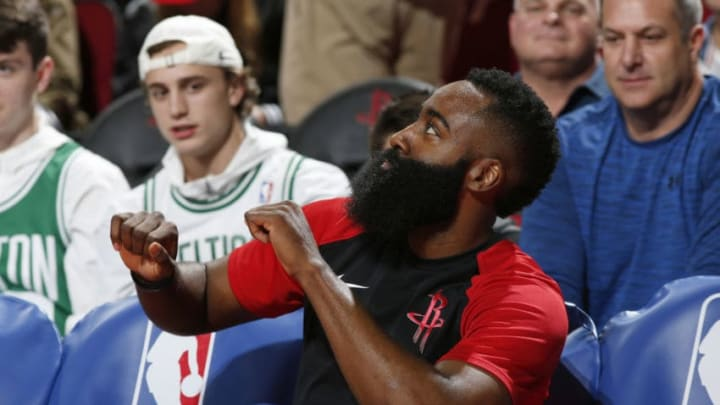 HOUSTON, TX - DECEMBER 27: James Harden #13 of the Houston Rockets before the game against the Boston Celtics on December 27, 2018 at the Toyota Center in Houston, Texas. NOTE TO USER: User expressly acknowledges and agrees that, by downloading and/or using this photograph, user is consenting to the terms and conditions of the Getty Images License Agreement. Mandatory Copyright Notice: Copyright 2018 NBAE (Photo by Chris Covatta/NBAE via Getty Images)