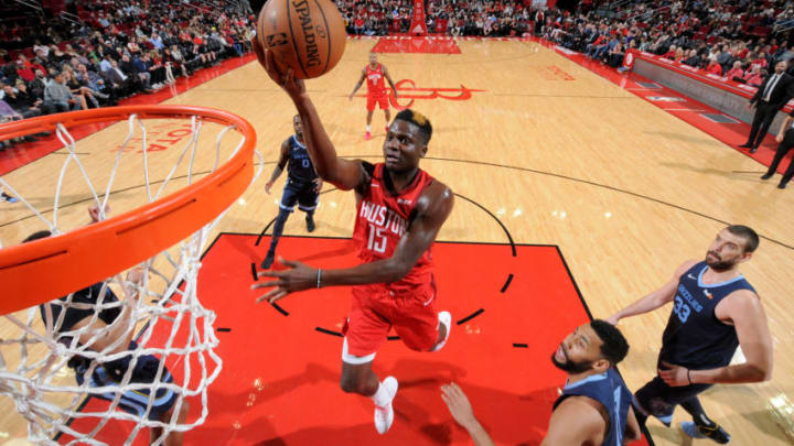 HOUSTON, TX - DECEMBER 31: Clint Capela #15 of the Houston Rockets shoots the ball during the game against the Memphis Grizzlies on December 31, 2018 at the Toyota Center in Houston, Texas. NOTE TO USER: User expressly acknowledges and agrees that, by downloading and or using this photograph, User is consenting to the terms and conditions of the Getty Images License Agreement. Mandatory Copyright Notice: Copyright 2018 NBAE (Photo by Bill Baptist/NBAE via Getty Images)