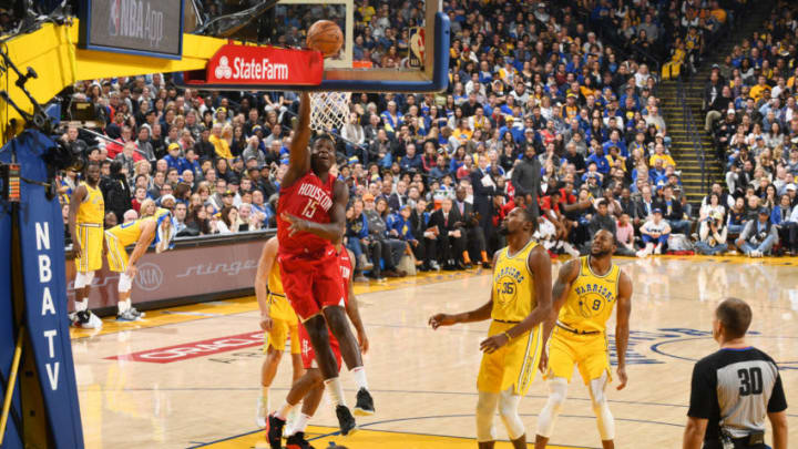 OAKLAND, CA - JANUARY 3: Clint Capela #15 of the Houston Rockets dunks the ball against the Los Angeles Lakers on January 3, 2019 at ORACLE Arena in Oakland, California. NOTE TO USER: User expressly acknowledges and agrees that, by downloading and or using this photograph, user is consenting to the terms and conditions of Getty Images License Agreement. Mandatory Copyright Notice: Copyright 2019 NBAE (Photo by Andrew D. Bernstein/NBAE via Getty Images)