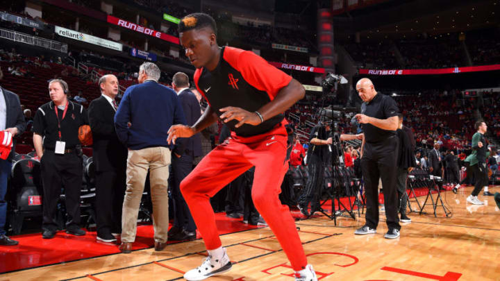 HOUSTON, TX - JANUARY 9 : Clint Capela #15 of the Houston Rockets warms up before the game against the Milwaukee Bucks on January 9, 2019 at the Toyota Center in Houston, Texas. NOTE TO USER: User expressly acknowledges and agrees that, by downloading and or using this photograph, User is consenting to the terms and conditions of the Getty Images License Agreement. Mandatory Copyright Notice: Copyright 2019 NBAE (Photo by Bill Baptist/NBAE via Getty Images)