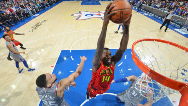 PHILADELPHIA, PA - JANUARY 11: Dewayne Dedmon #14 of the Atlanta Hawks dunks the ball against the Philadelphia 76ers on January 11, 2019 at the Wells Fargo Center in Philadelphia, Pennsylvania NOTE TO USER: User expressly acknowledges and agrees that, by downloading and/or using this Photograph, user is consenting to the terms and conditions of the Getty Images License Agreement. Mandatory Copyright Notice: Copyright 2019 NBAE (Photo by Jesse D. Garrabrant/NBAE via Getty Images)