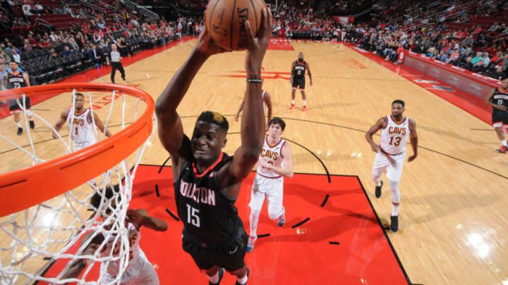 Clint Cappella #15 of the Houston Rockets dunks against the Cleveland Cavaliers (Photo by Bill Baptist/NBAE via Getty Images)