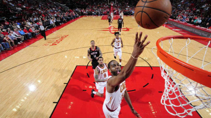 HOUSTON, TX - JANUARY 11 : Alec Burks #10 of the Cleveland Cavaliers puts up shot against the Houston Rockets on January 11, 2019 at the Toyota Center in Houston, Texas. NOTE TO USER: User expressly acknowledges and agrees that, by downloading and or using this photograph, User is consenting to the terms and conditions of the Getty Images License Agreement. Mandatory Copyright Notice: Copyright 2019 NBAE (Photo by Bill Baptist/NBAE via Getty Images)