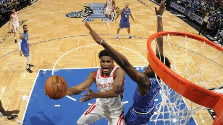 ORLANDO, FL - JANUARY 13: Danuel House Jr. #4 of the Houston Rockets shoots the ball against the Orlando Magic on January 13, 2019 at Amway Center in Orlando, Florida. NOTE TO USER: User expressly acknowledges and agrees that, by downloading and or using this photograph, User is consenting to the terms and conditions of the Getty Images License Agreement. Mandatory Copyright Notice: Copyright 2019 NBAE (Photo by Fernando Medina/NBAE via Getty Images)