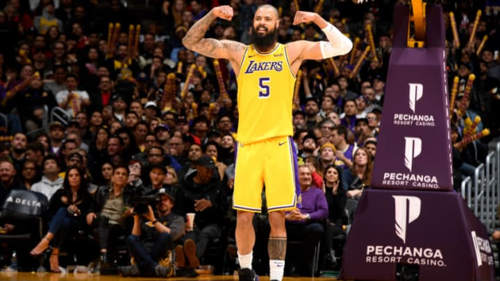LOS ANGELES, CA - JANUARY 15: Tyson Chandler #5 of the Los Angeles Lakers reacts against the Chicago Bulls on January 15, 2019 at STAPLES Center in Los Angeles, California. NOTE TO USER: User expressly acknowledges and agrees that, by downloading and/or using this Photograph, user is consenting to the terms and conditions of the Getty Images License Agreement. Mandatory Copyright Notice: Copyright 2019 NBAE (Photo by Andrew D. Bernstein/NBAE via Getty Images)