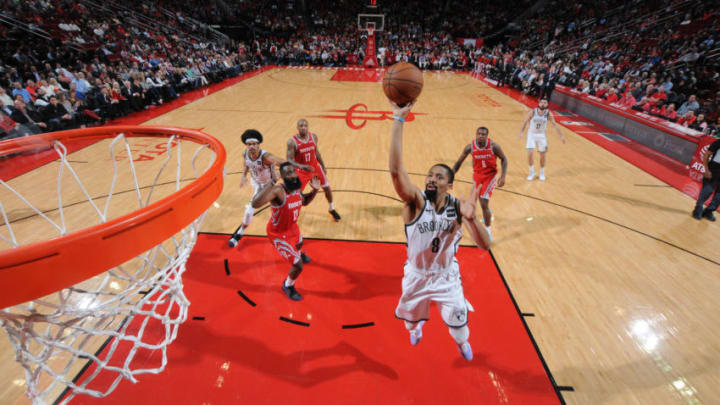 HOUSTON, TX - JANUARY 16 : Spencer Dinwiddie #8 of the Brooklyn Nets shoots the ball against the Houston Rockets on January 16, 2019 at the Toyota Center in Houston, Texas. NOTE TO USER: User expressly acknowledges and agrees that, by downloading and or using this photograph, User is consenting to the terms and conditions of the Getty Images License Agreement. Mandatory Copyright Notice: Copyright 2019 NBAE (Photo by Bill Baptist/NBAE via Getty Images)