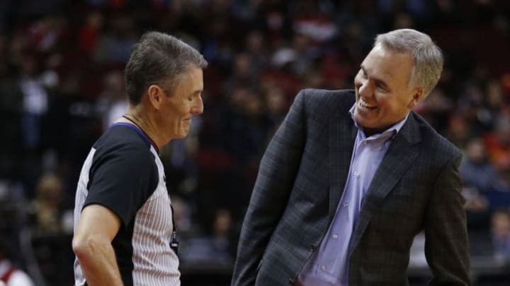 HOUSTON, TEXAS - DECEMBER 19: Head coach Mike D'Antoni of the Houston Rockets shares a laugh with referee Scott Foster #48 during the fourth quarter against the Washington Wizards at Toyota Center on December 19, 2018 in Houston, Texas. NOTE TO USER: User expressly acknowledges and agrees that, by downloading and or using this photograph, User is consenting to the terms and conditions of the Getty Images License Agreement. (Photo by Bob Levey/Getty Images)