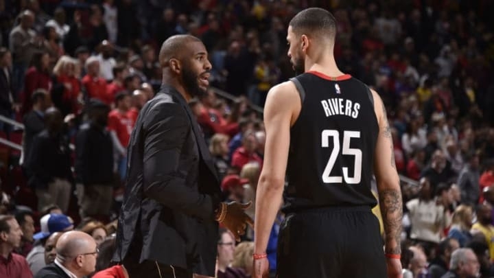 HOUSTON, TX - JANUARY 19: Chris Paul #3 and Austin Rivers #25 of the Houston Rockets talk during the game against the Los Angeles Lakers on January 19, 2019 at the Toyota Center in Houston, Texas. NOTE TO USER: User expressly acknowledges and agrees that, by downloading and/or using this photograph, user is consenting to the terms and conditions of the Getty Images License Agreement. Mandatory Copyright Notice: Copyright 2019 NBAE (Photo by Bill Baptist/NBAE via Getty Images)